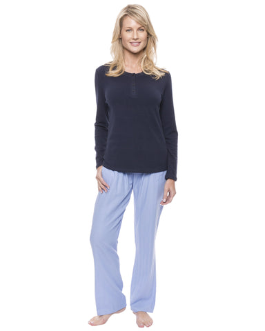 Womens Cotton Flannel Lounge Set with Henley Top - Herringbone Chambray Blue