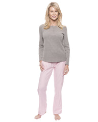 Womens Cotton Flannel Lounge Set with Henley Top - Herringbone Pink