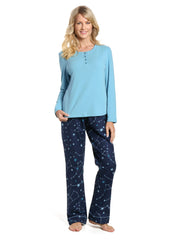 Womens Cotton Flannel Lounge Set with Henley Top - Constellations Blue