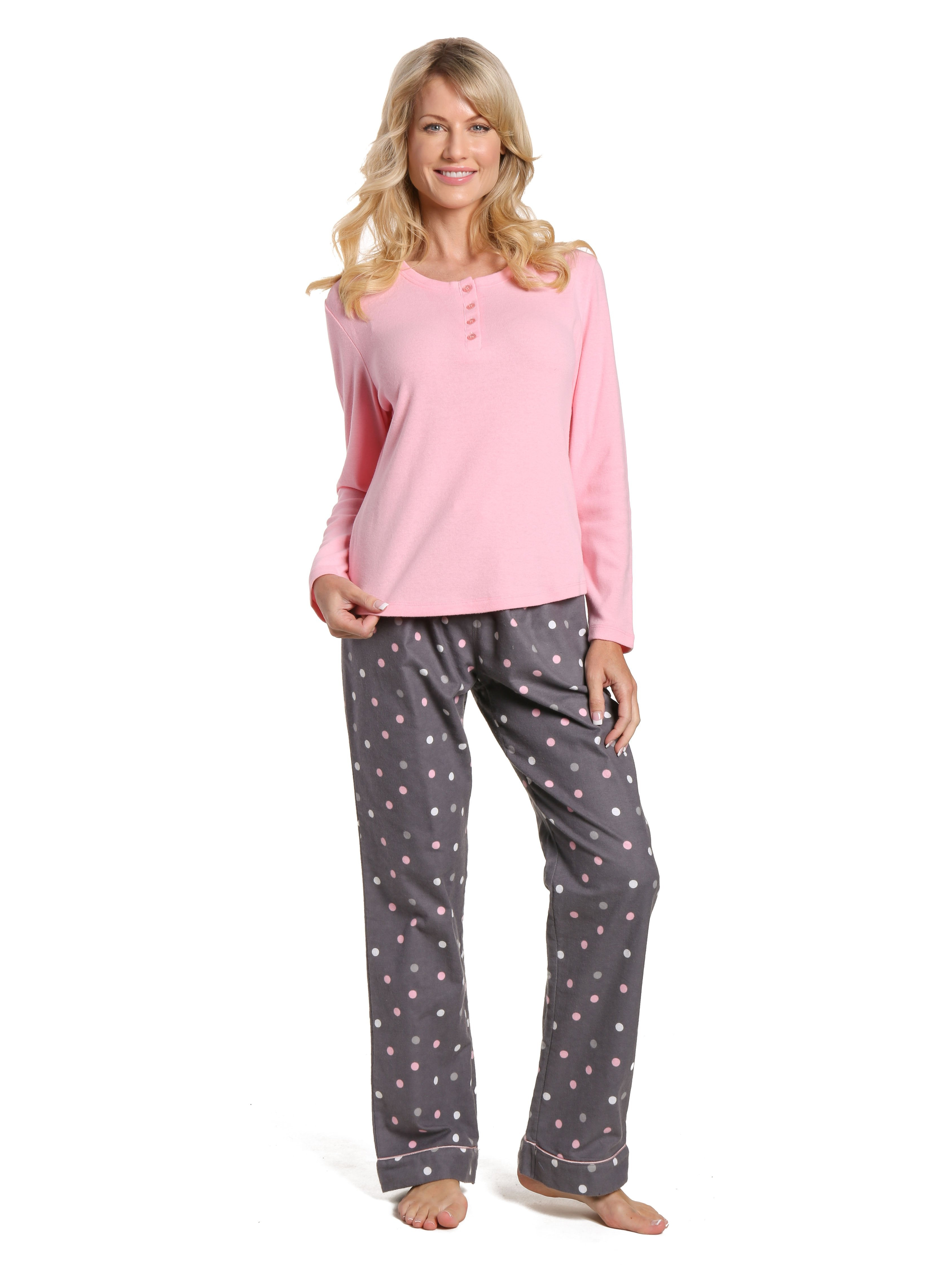 Womens Cotton Flannel Lounge Set with Henley Top - Polka Medley Gray-Pink