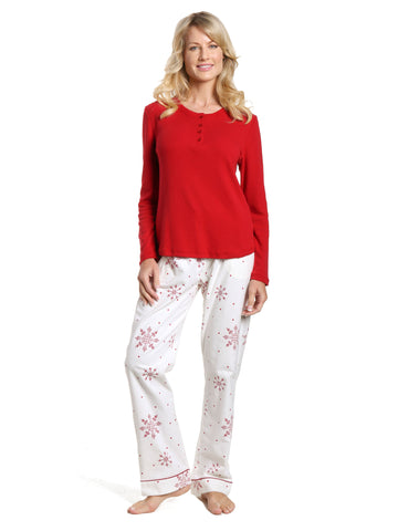 Womens Cotton Flannel Lounge Set with Henley Top - Lovely Snowflakes White-Red