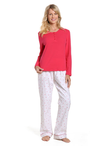 Womens Cotton Flannel Lounge Set with Henley Top - Little Hearts - White-Red