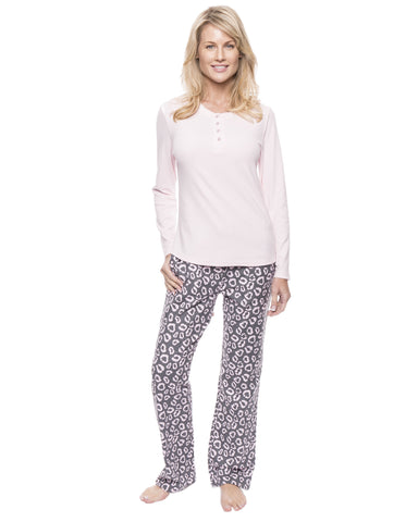 Womens Cotton Flannel Lounge Set with Henley Top - Jaguar Grey/Pink