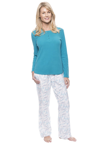 Womens Cotton Flannel Lounge Set with Henley Top - Floral White/Blue