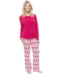 Womens Cotton Flannel Lounge Set with Henley Top - Mandala Cream/Red
