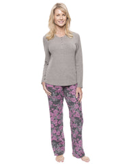 Womens Cotton Flannel Lounge Set with Henley Top - Floral Grey/Pink