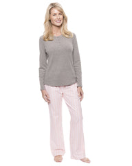 Womens Cotton Flannel Lounge Set with Henley Top - Stripes Pink