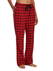 Womens 100% Cotton Lightweight Flannel Lounge Pants - Checks Red-Black