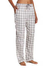 Womens 100% Cotton Lightweight Flannel Lounge Pants - Gingham Gray