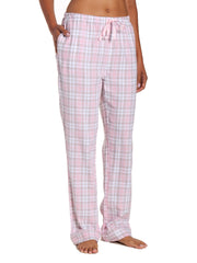 Womens 100% Cotton Lightweight Flannel Lounge Pants - Plaid White-Pink