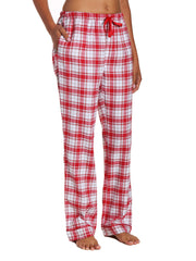 Womens 100% Cotton Lightweight Flannel Lounge Pants - Plaid White-Red