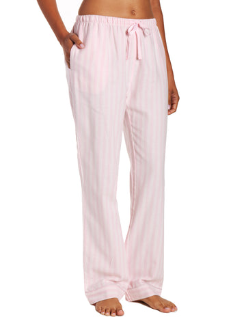 Womens 100% Cotton Lightweight Flannel Lounge Pants - Stripes Pink