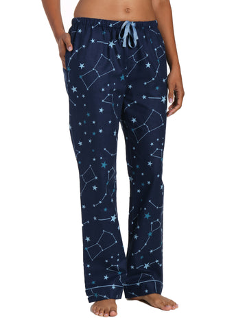 Womens 100% Cotton Flannel Lounge Pants - Constellations Blue