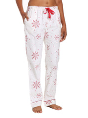 Womens 100% Cotton Flannel Lounge Pants - Lovely Snowflakes White-Red