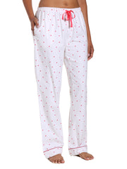 Womens 100% Cotton Flannel Lounge Pants - Little Hearts - White-Red