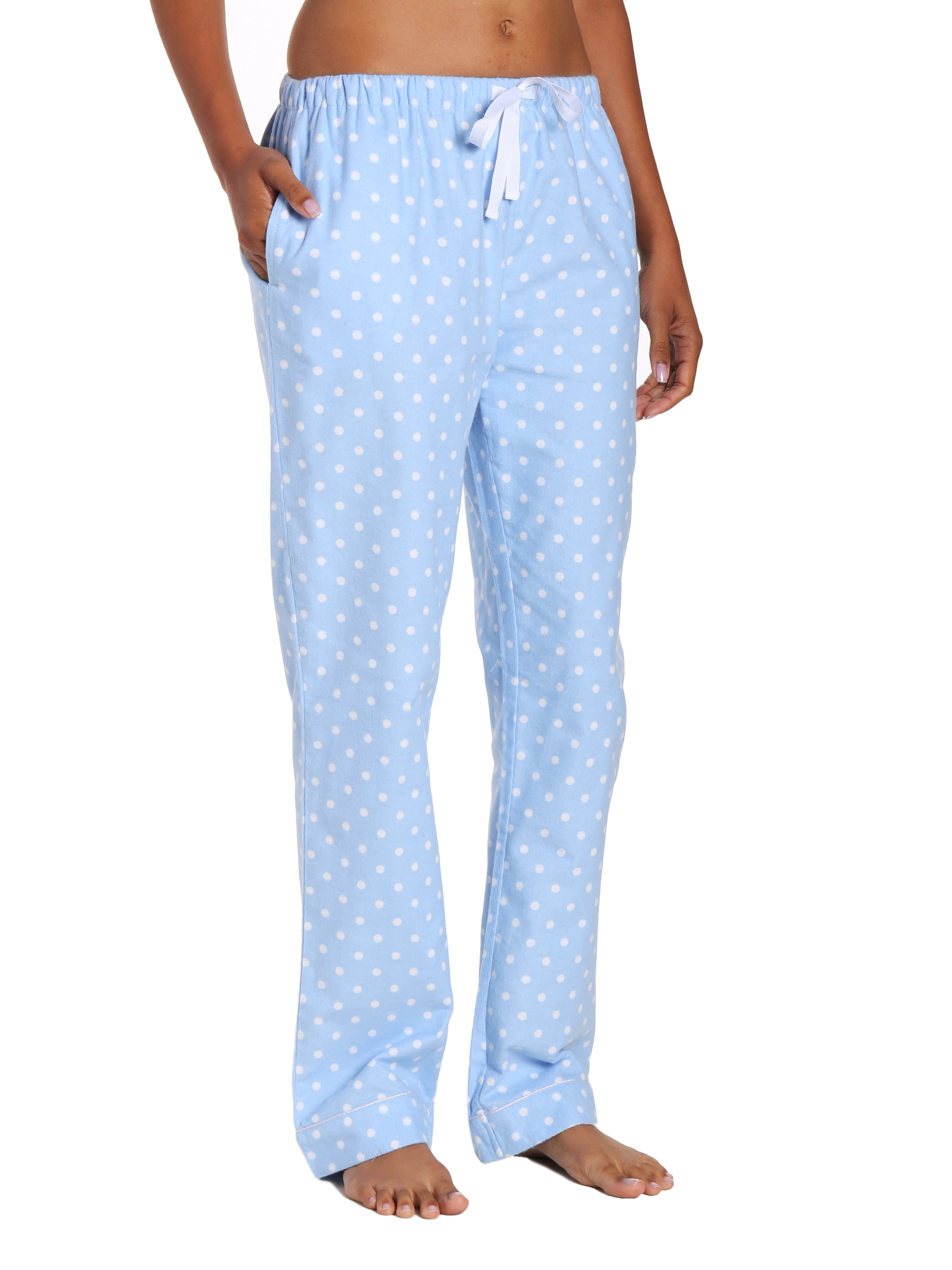 Womens 100% Cotton Flannel Lounge Pants - Dots Diva Blue-White