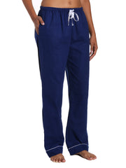 Womens 100% Cotton Flannel Lounge Pants - Midnight Blue