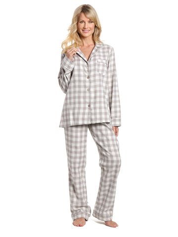 Womens 100% Cotton Lightweight Flannel Pajama Sleepwear Set - Gingham Gray