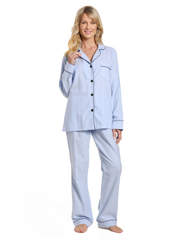 Womens 100% Cotton Lightweight Flannel Pajama Sleepwear Set - Herringbone Chambray Blue