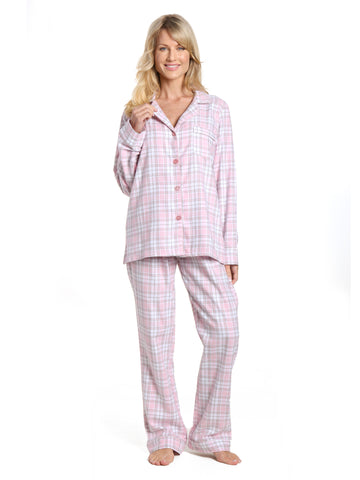 Womens 100% Cotton Lightweight Flannel Pajama Sleepwear Set - Plaid White-Pink