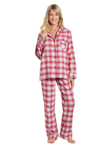 Womens 100% Cotton Lightweight Flannel Pajama Sleepwear Set - Plaid White-Red