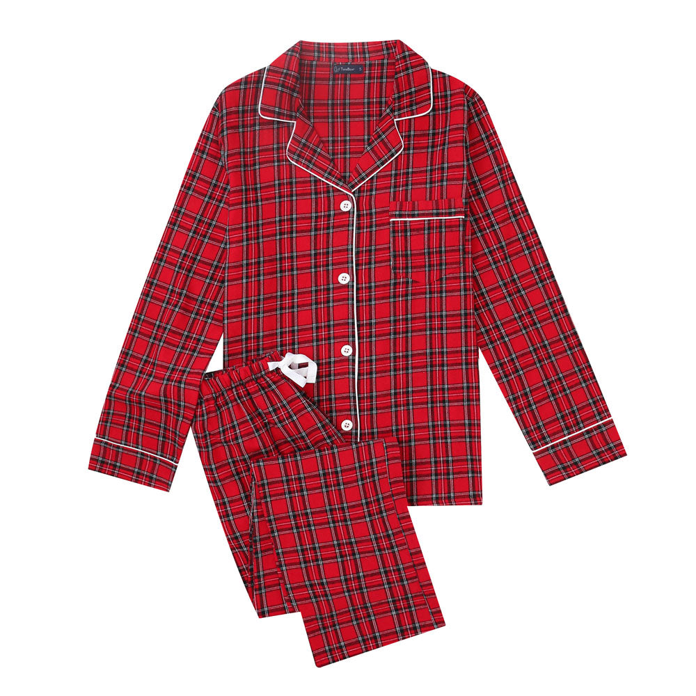 Women's Cotton Lightweight Flannel Pajama Set - Plaid Red-Black