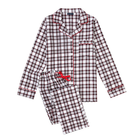 Women's Cotton Lightweight Flannel Pajama Set - Plaid White-Black