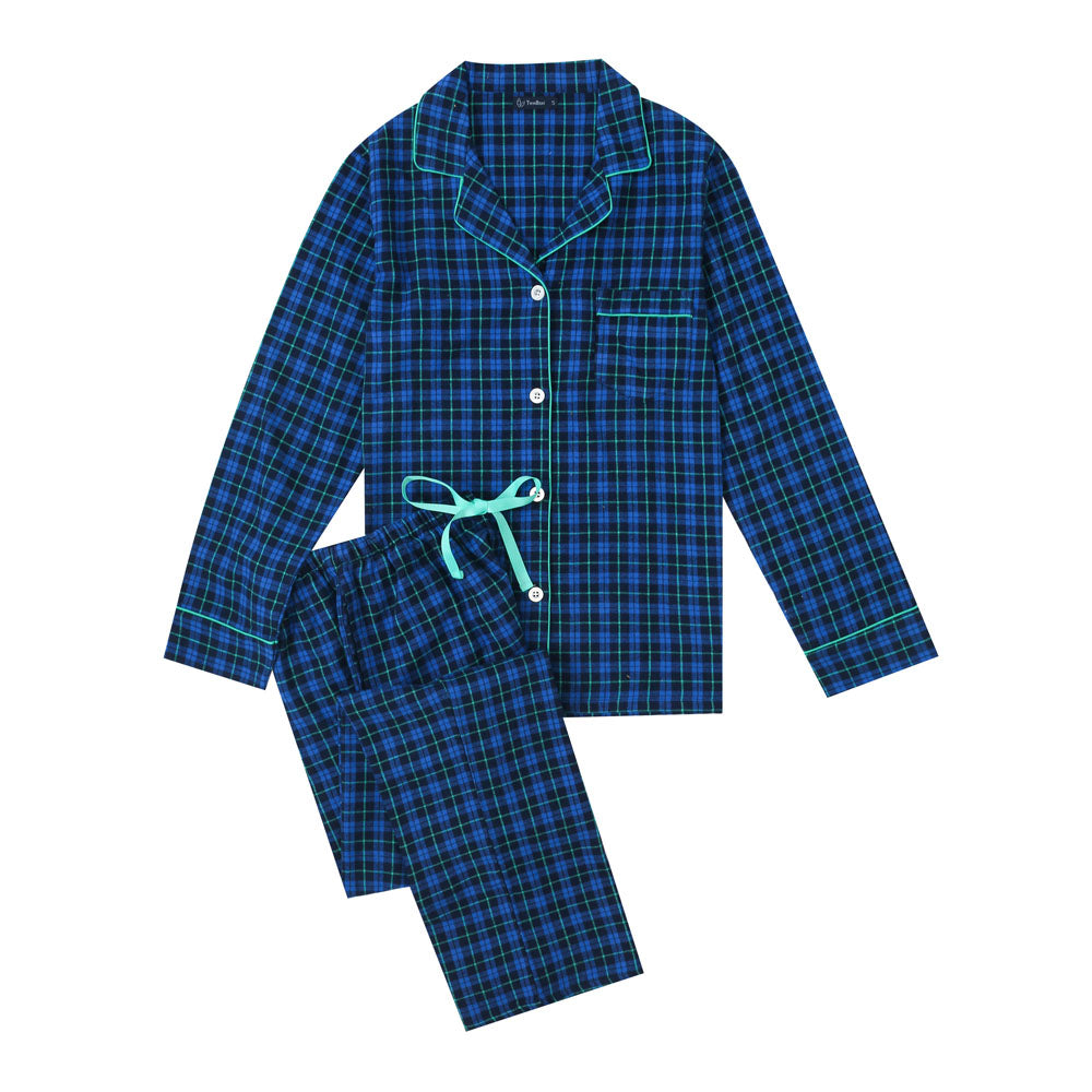 Women's Cotton Lightweight Flannel Pajama Set - Plaid Blue-Green