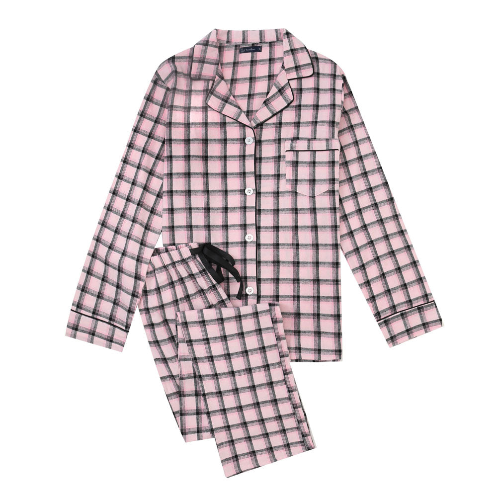 Women's Cotton Lightweight Flannel Pajama Set - Plaid Pink-Black