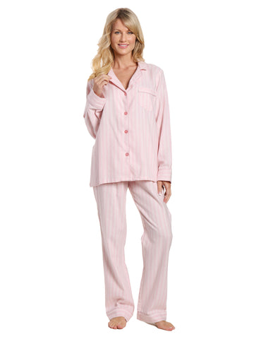 Womens 100% Cotton Lightweight Flannel Pajama Sleepwear Set - Stripes Pink