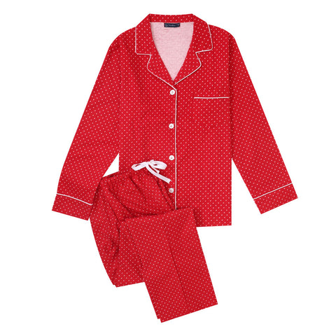 Women's Cotton Flannel Pajama Set - Pindots Red-White