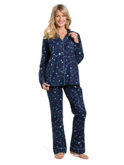 Women's 100% Cotton Flannel Pajama Sleepwear Set - Constellations Blue