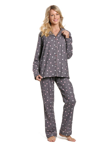 Women's 100% Cotton Flannel Pajama Sleepwear Set - Polka Medley Gray-Pink