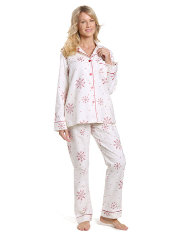 Women's 100% Cotton Flannel Pajama Sleepwear Set - Lovely Snowflakes White-Red