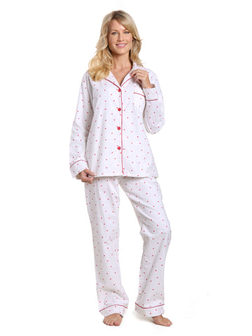 Women's 100% Cotton Flannel Pajama Sleepwear Set - Little Hearts - White-Red