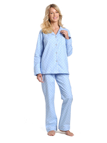 Women's 100% Cotton Flannel Pajama Sleepwear Set - Dots Diva Blue-White