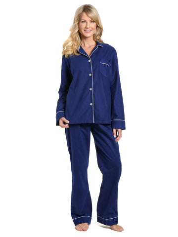 Women's 100% Cotton Flannel Pajama Sleepwear Set - Midnight Blue