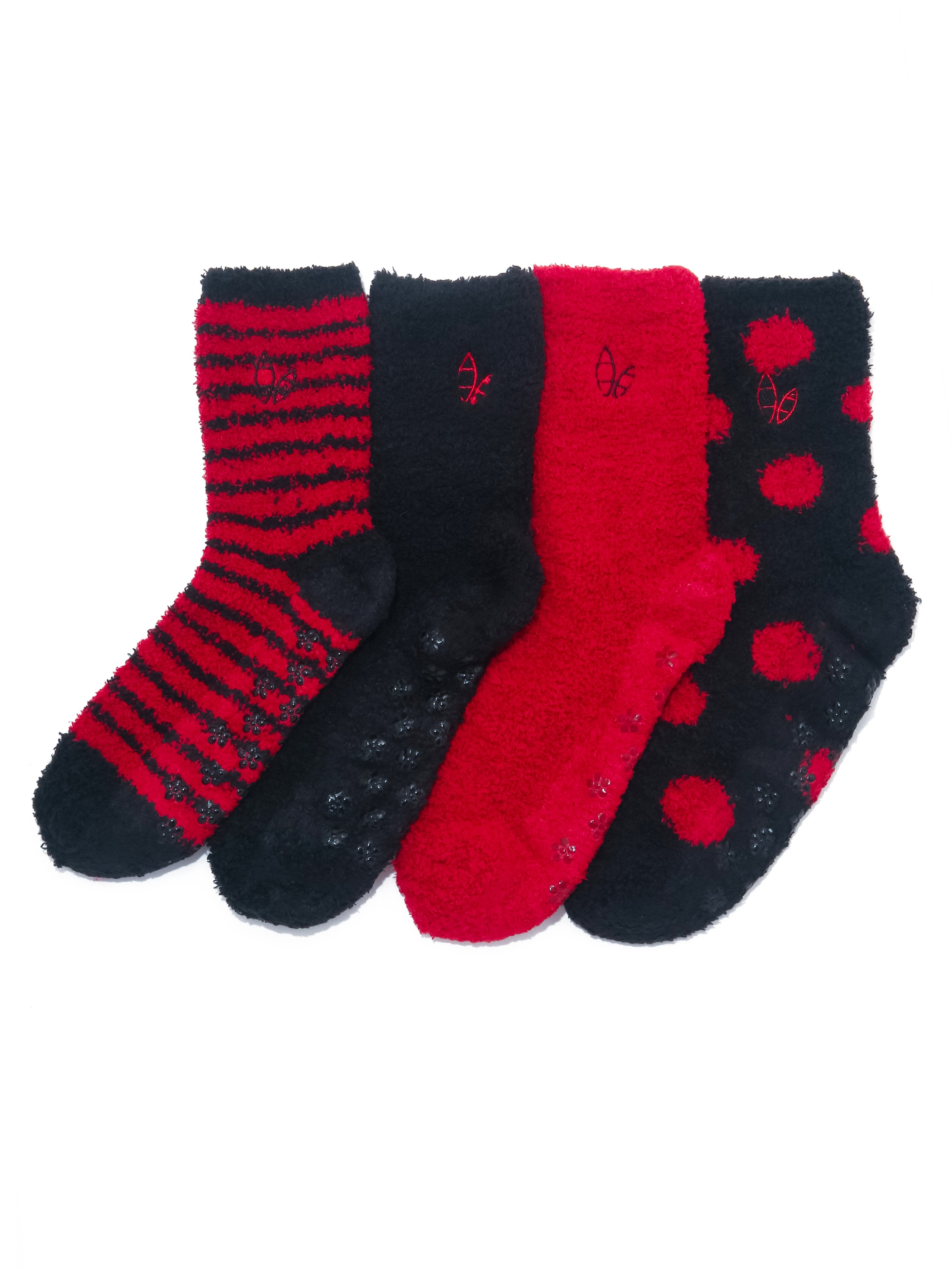 Women's (4 Pairs) Soft Anti-Skid Fuzzy Winter Crew Socks - Set A3