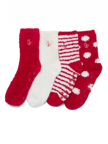 Women's (4 Pairs) Soft Anti-Skid Fuzzy Winter Crew Socks - Set A4