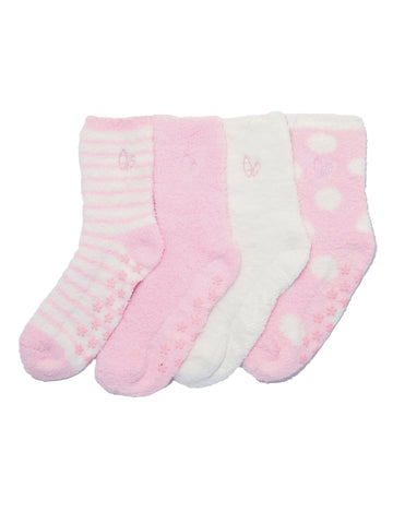 Women's (4 Pairs) Soft Anti-Skid Fuzzy Winter Crew Socks - Set A6