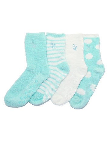 Women's (4 Pairs) Soft Anti-Skid Fuzzy Winter Crew Socks - Set A7