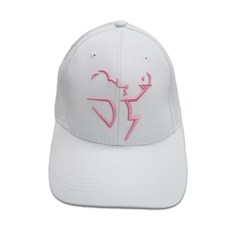 Women's Cotton Twill Baseball Hat with Outlined Logo in Pink