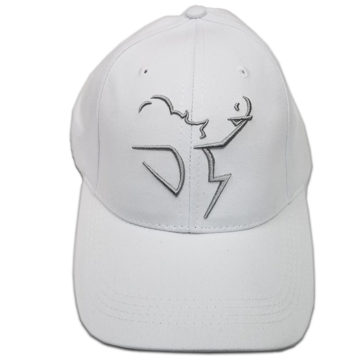 Cotton Twill Baseball Hat with Outlined Logo in Silver