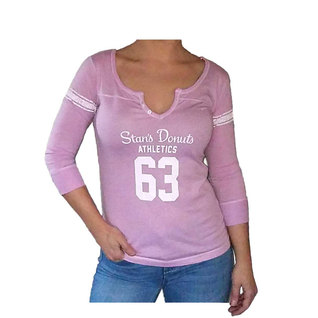 Women's Hailey Henley 3/4 Sleeve in Stan's Pink