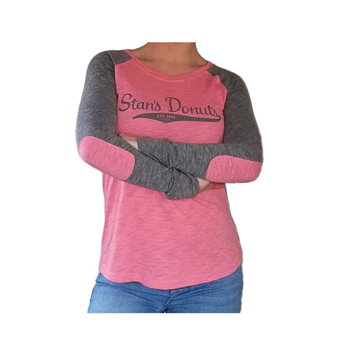 Women's Preppy Patch Slub Shirt in Pink/Granite