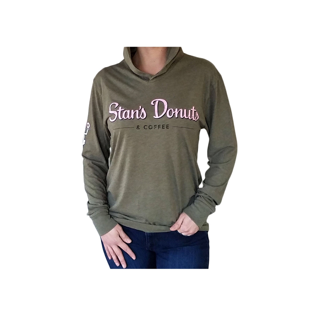 Unisex Triblend Hooded Tee in Military Green