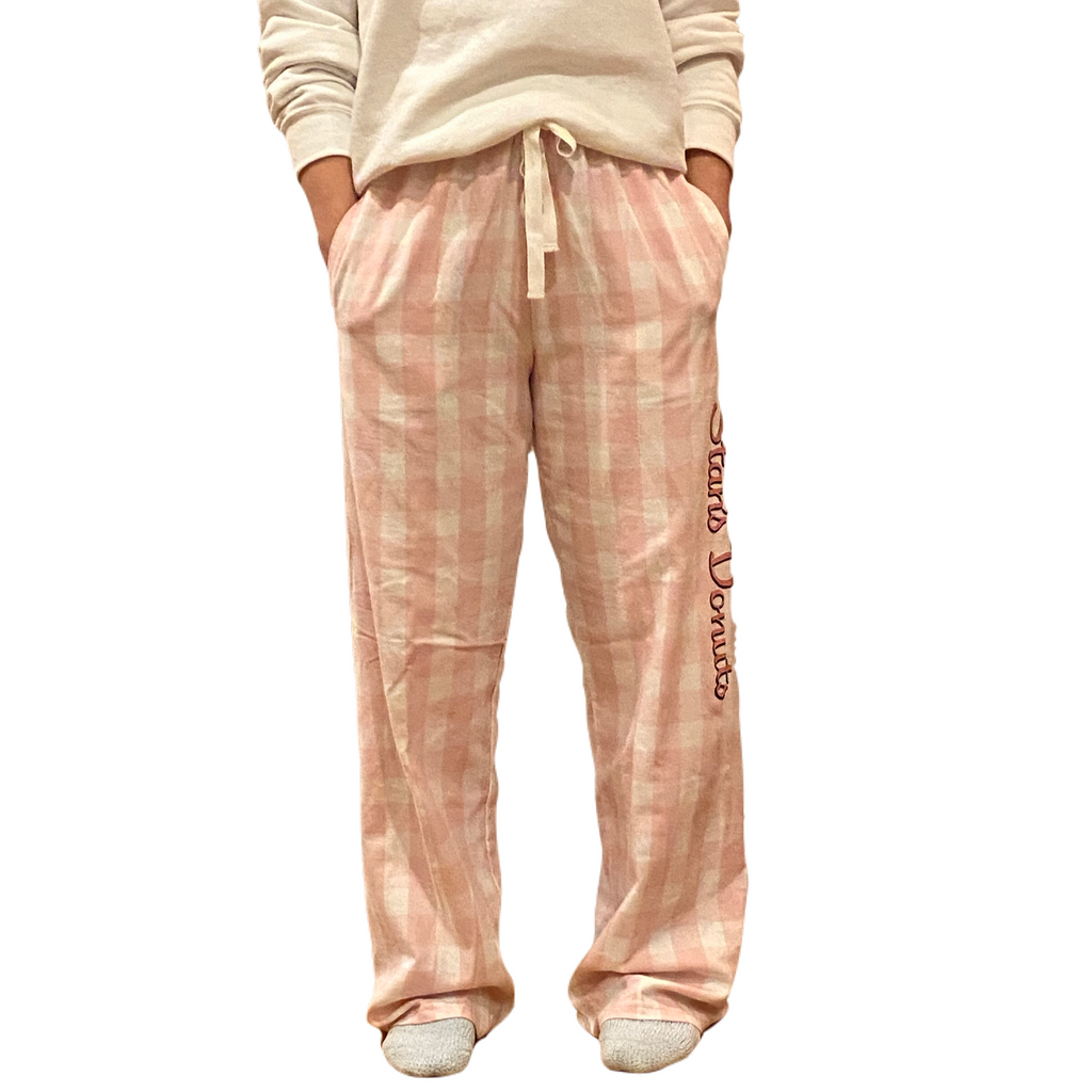 Pale Pink Buffalo Plaid Flannel Pants