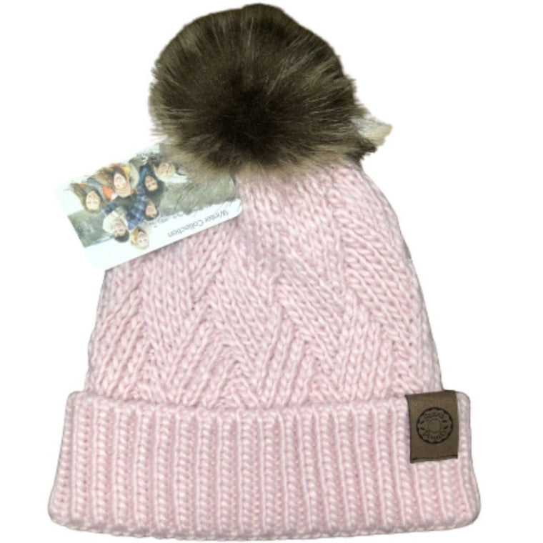 Cross Hatch Beanie With Faux Fur Pom