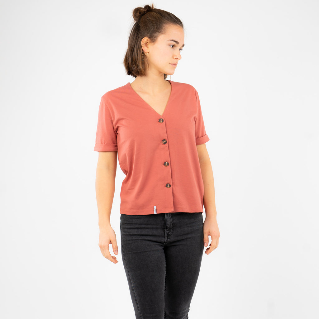 Button Top - Coral