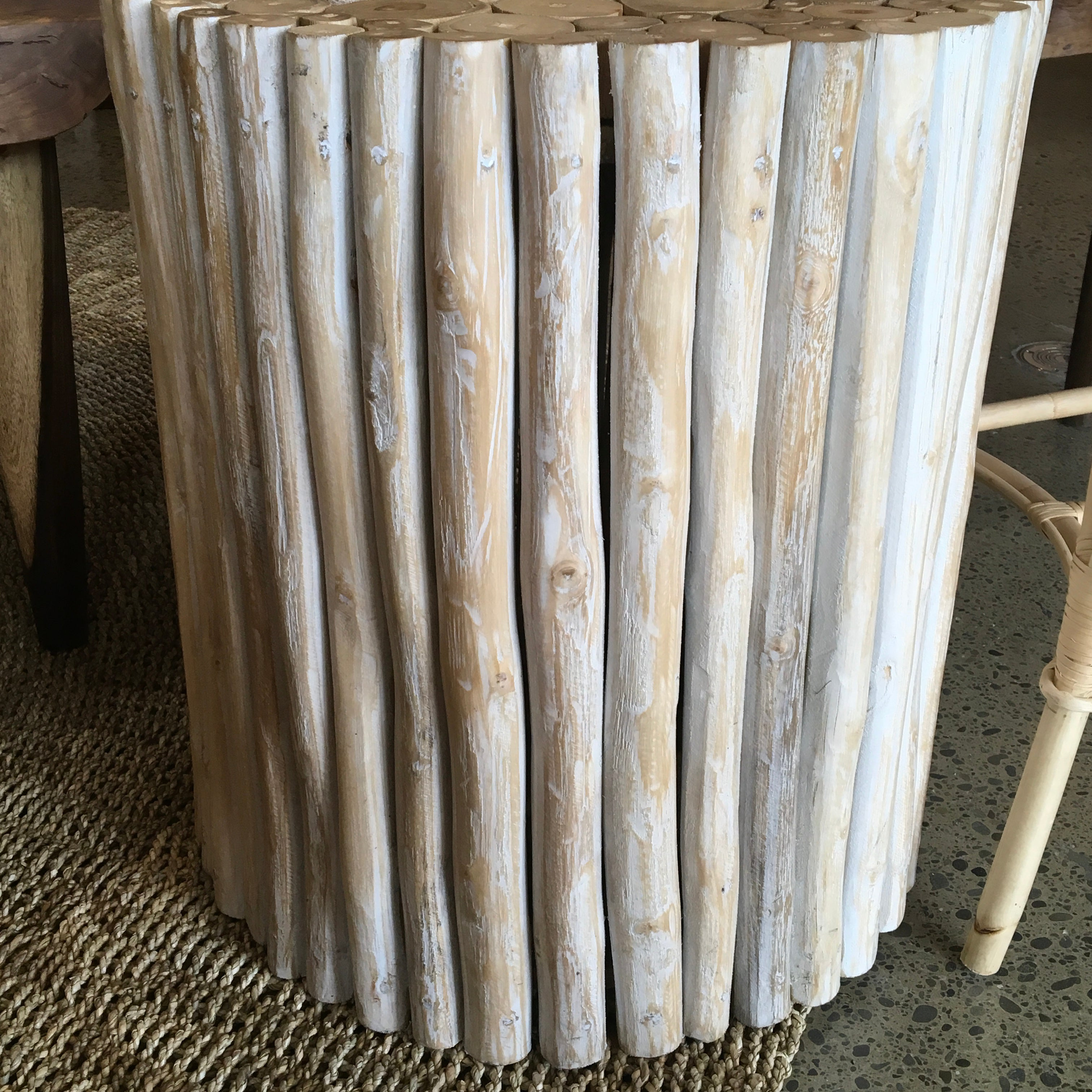 White Washed Teak Branches Side Table